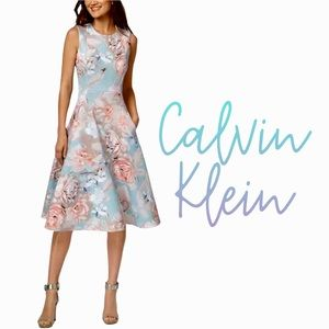 Calvin Klein watercolor floral fit and flare midi